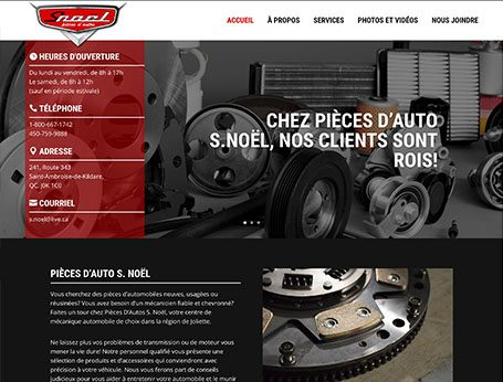 Site web de Pièces auto S. Noël (Conception de site web) - Medialogue