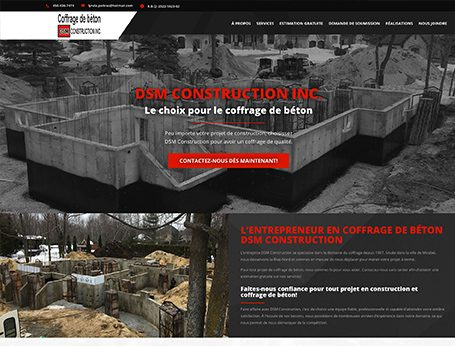 Démo DSM Construction (conception de site web) - Medialogue